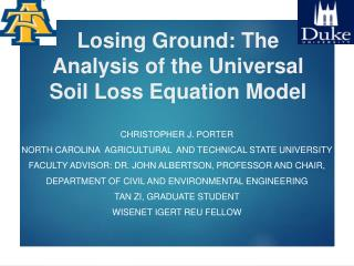 Losing Ground: The Analysis of the Universal Soil Loss Equation Model