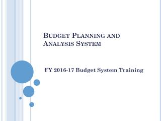 Budget Planning and Analysis System