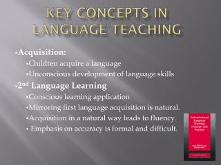 KEY CONCEPTS IN LANGUAGE TEACHING