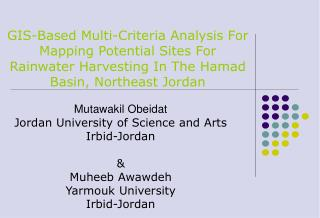 Mutawakil Obeidat Jordan University of Science and Arts Irbid-Jordan & Muheeb Awawdeh