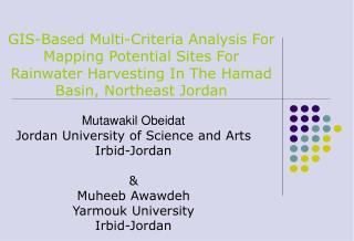 Mutawakil Obeidat Jordan University of Science and Arts Irbid-Jordan & Muheeb Awawdeh