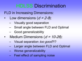 HDLSS  Discrimination