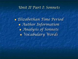 Unit II Part I: Sonnets