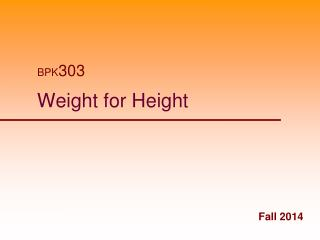 Weight for Height
