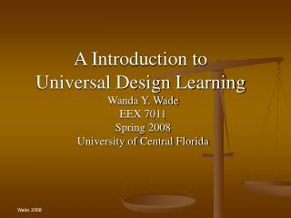 A Introduction to  Universal Design Learning