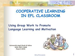 COOPERATIVE LEARNING  IN EFL CLASSROOM