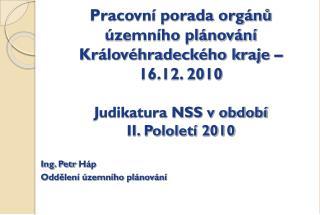Ing. Petr  Háp Oddělení územního plánování