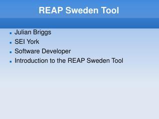 REAP Sweden Tool