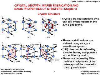 CRYSTAL GROWTH, WAFER FABRICATION AND  BASIC PROPERTIES OF Si WAFERS- Chapter 3
