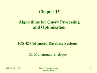 Chapter 15 Algorithms for Query Processing  and Optimization