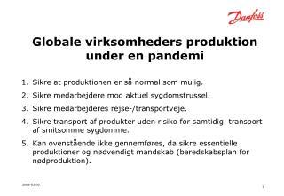 Globale virksomheders produktion under en pandemi