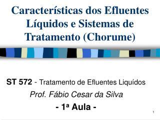 Características dos Efluentes Líquidos e Sistemas de Tratamento (Chorume)