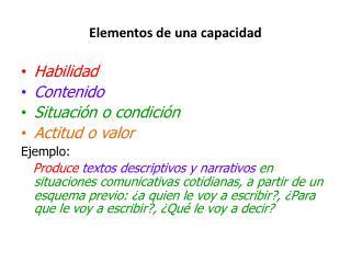 Elementos de una capacidad