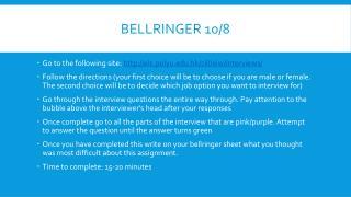 Bellringer  10/8