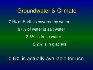 Groundwater & Climate