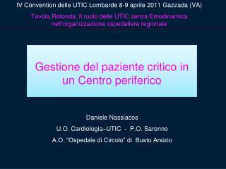 Daniele Nassiacos U.O. Cardiologia–UTIC  -  P.O. Saronno