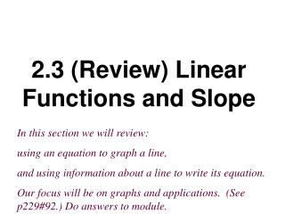 2.3 Review Linear Functions and Slope