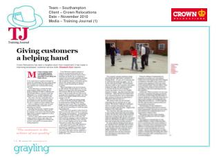 Team – Southampton Client – Crown Relocations Date – November 2010 Media – Training Journal (1)