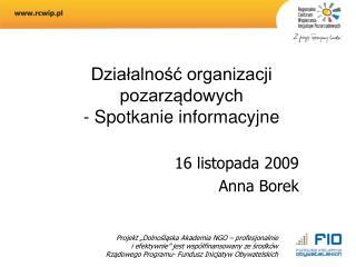 Działalność organizacji pozarządowych  - Spotkanie informacyjne