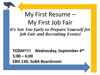 My First Resume – My First Job Fair