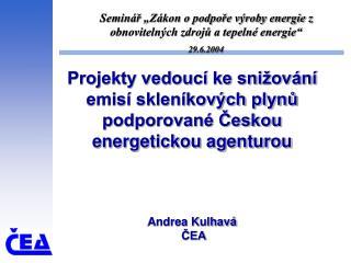 """Seminář """"Zákon o podpoře výroby energie z obnovitelných zdrojů a tepelné energie"""" 29.6.2004"""