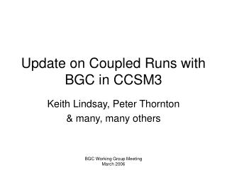 Update on Coupled Runs with BGC in CCSM3