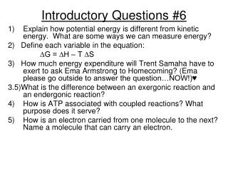 Introductory Questions #6