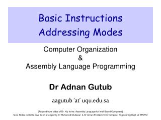 Basic Instructions Addressing Modes