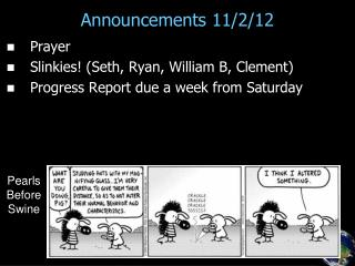 Announcements 11/2/12
