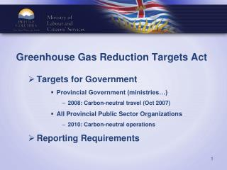 Greenhouse Gas Reduction Targets Act
