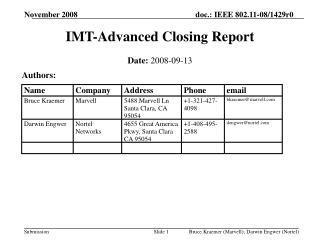 IMT-Advanced Closing Report