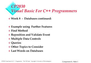 CP2030 Visual Basic For  C++ Programmers