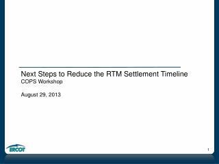 Next Steps to Reduce the RTM Settlement Timeline COPS Workshop August 29, 2013