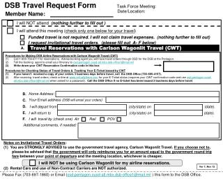 DSB Travel Request Form          Task Force Meeting: