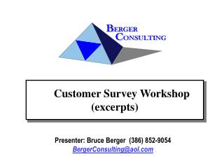 Customer Survey Workshop excerpts