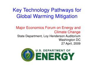 Key Technology Pathways for Global Warming Mitigation