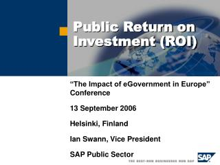 Public Return on Investment (ROI)