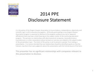 2014 PPE Disclosure Statement