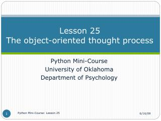 Lesson 25 The object-oriented thought process