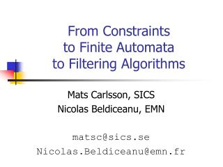 From Constraints to Finite Automata to Filtering Algorithms