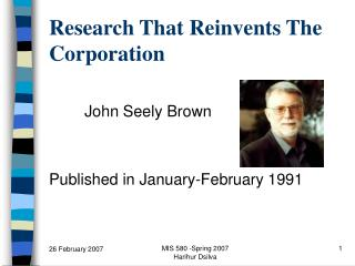Research That Reinvents The Corporation