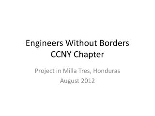 Engineers Without Borders  CCNY Chapter