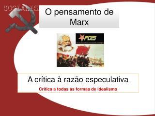 O pensamento de Marx