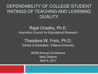 Dependability Of College Student Ratings Of Teaching And Learning Quality