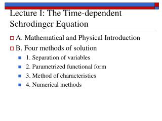 Lecture I: The Time-dependent Schrodinger Equation