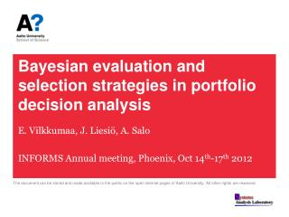 Bayesian evaluation and selection strategies in portfolio decision analysis