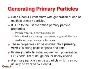 Generating Primary Particles