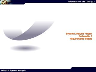 Systems Analysis Project Deliverable 3 Requirements Models