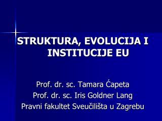STRUKTURA, EVOLUCIJA I INSTITUCIJE EU Prof .  dr .  sc . Tamara  Ćapeta