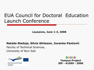 EUA Council for Doctoral  Education  Launch Conference